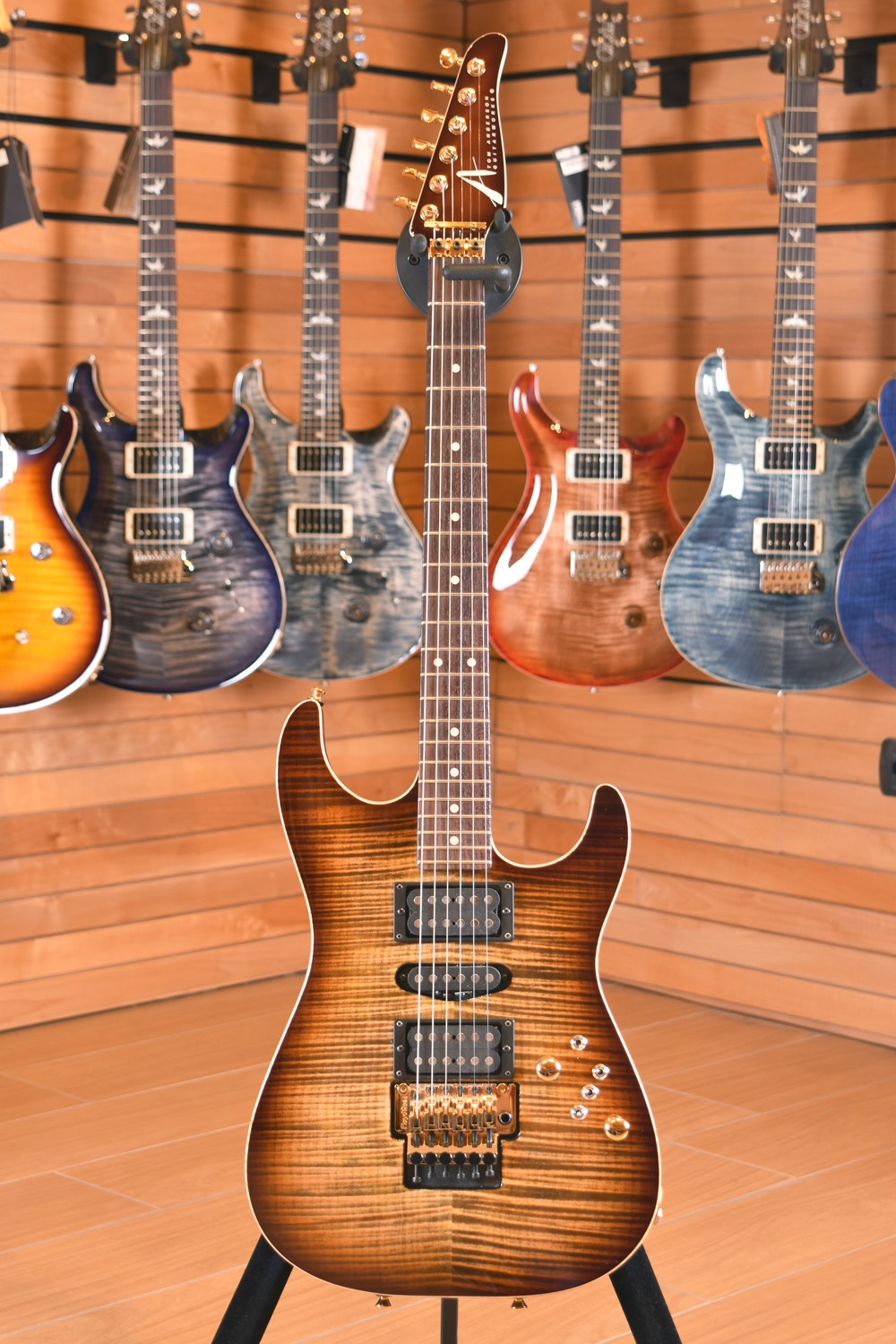 Tom Anderson Drop Top Light Tiger Eye Burst with Binding , Matching Neck